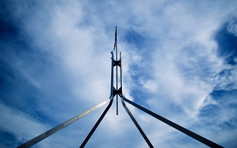 Australian flag at the Parliament building at Canberra, ACT, Australia