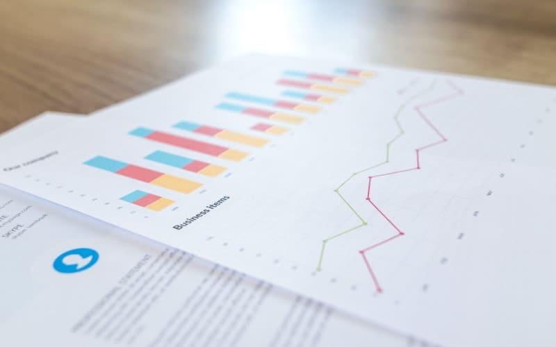 Printouts showing a cash flow forecast graph