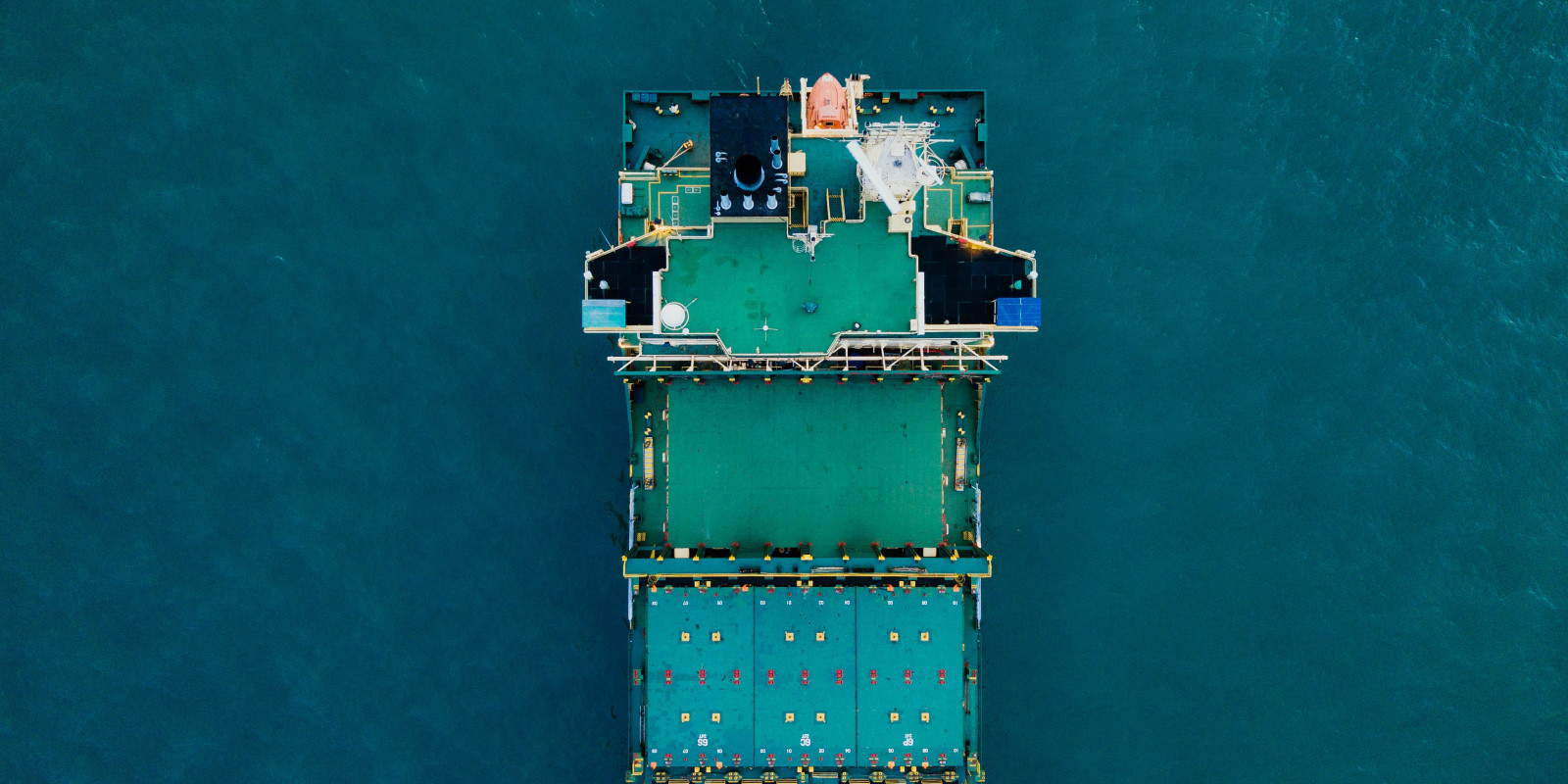 Aerial view of cargo freight container ship