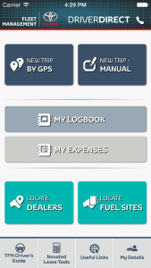 Device screenshot of DriverDirect Logbook App by Toyota Fleet Management