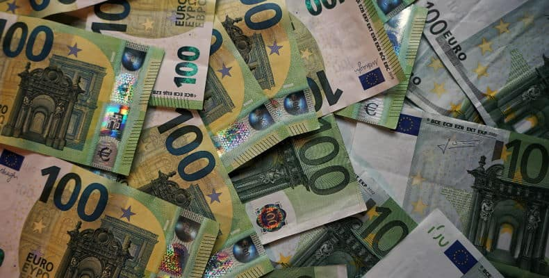 A collection of 100 Euro notes