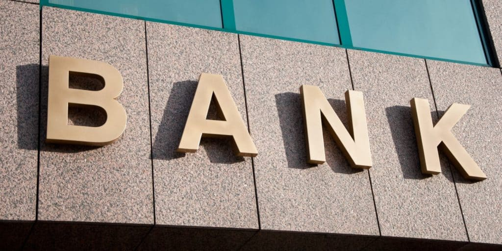 Bank sign on side of building