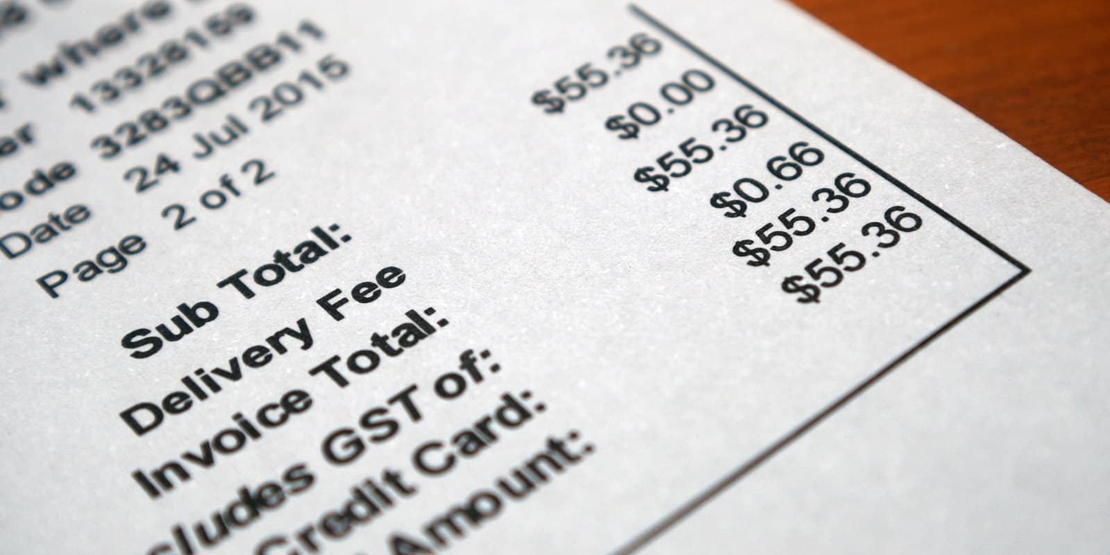 Close up of an invoice showing GST