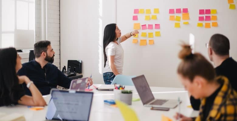 Asian woman conducts whiteboard planning meeting with sticky notes