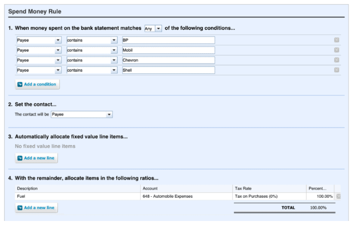Xero's automation rules setup screenshot